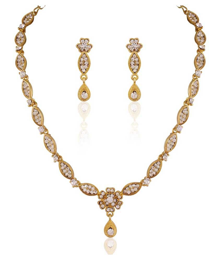 Pearls Cart Gold Alloy Bridal Bridal Necklace Set