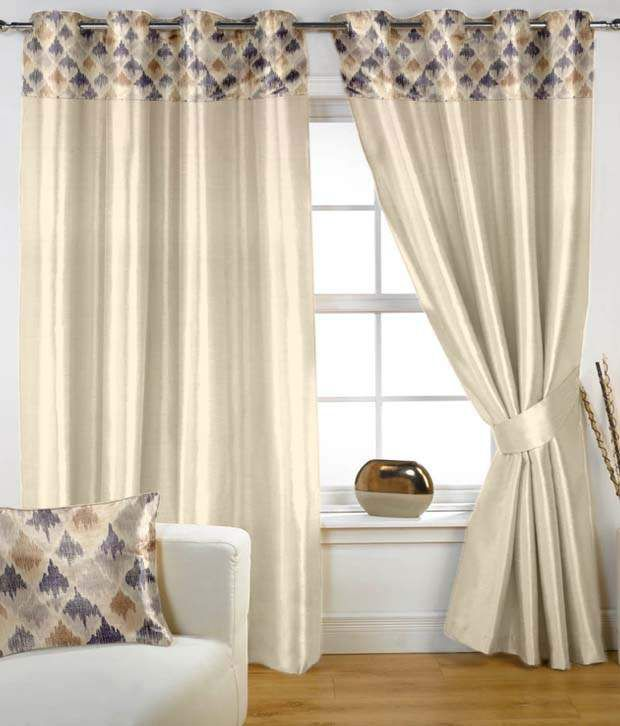 HOMEC Set of 2 Window Eyelet Curtains Contemporary Beige