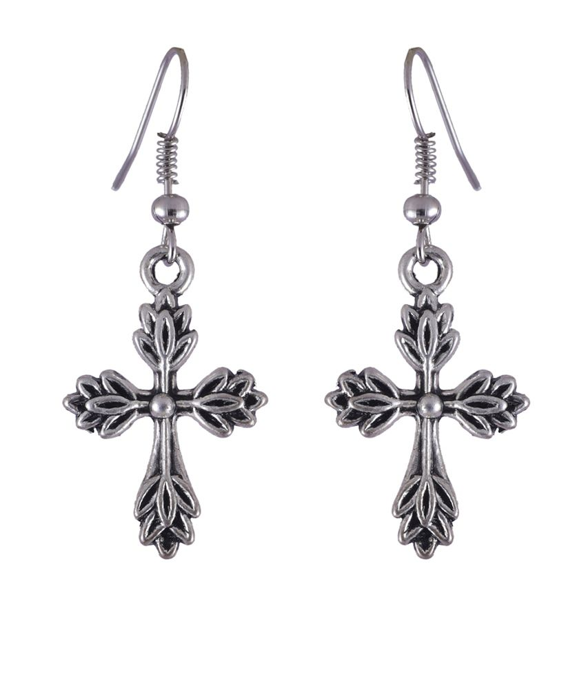 NIROSHA Silver Tibetan Contemporary Earrings for Women