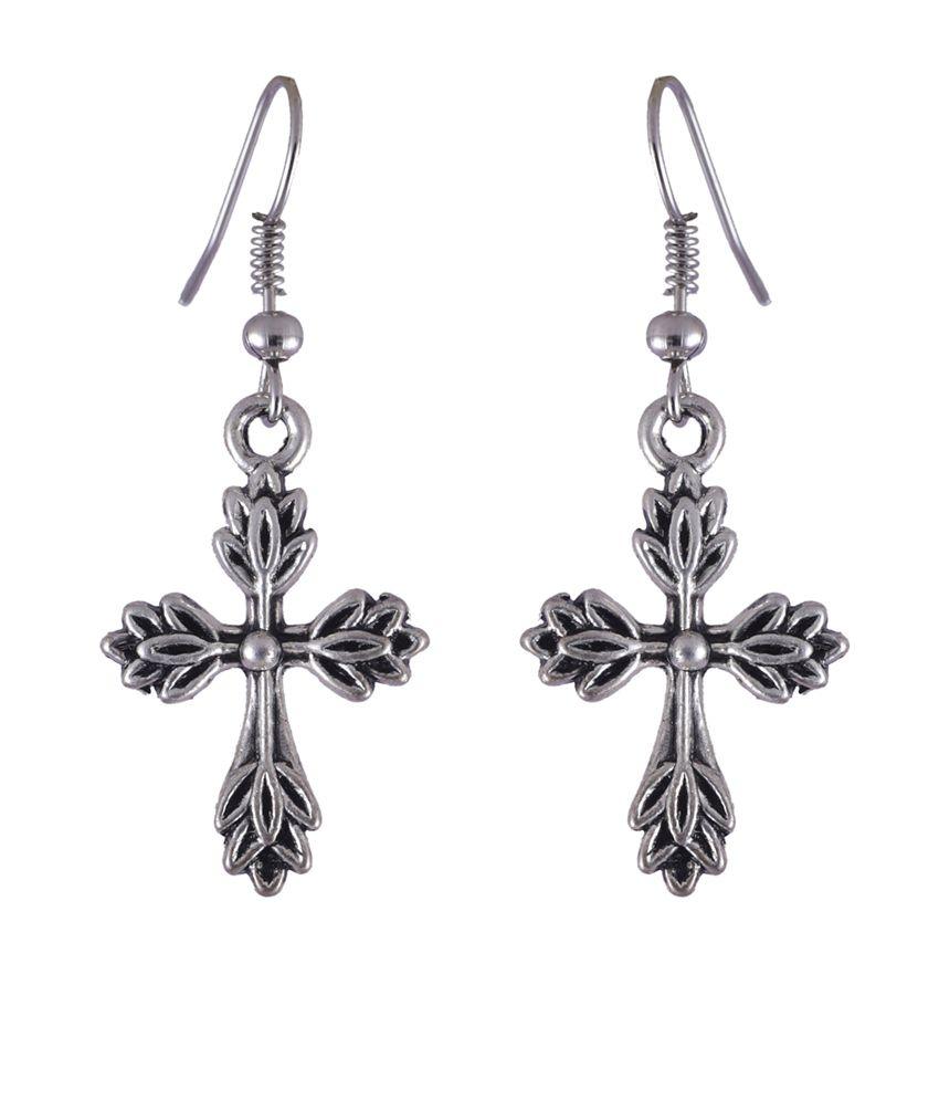 NIROSHA Silver Tibetan Contemporary Earrings for Women