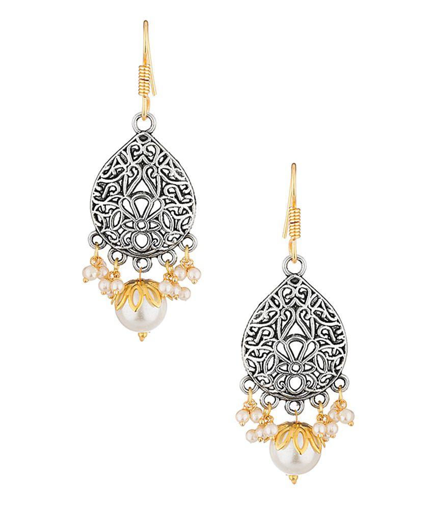 Voylla Beautiful Pearl Beads Elegant Jali Drop Design Danglers