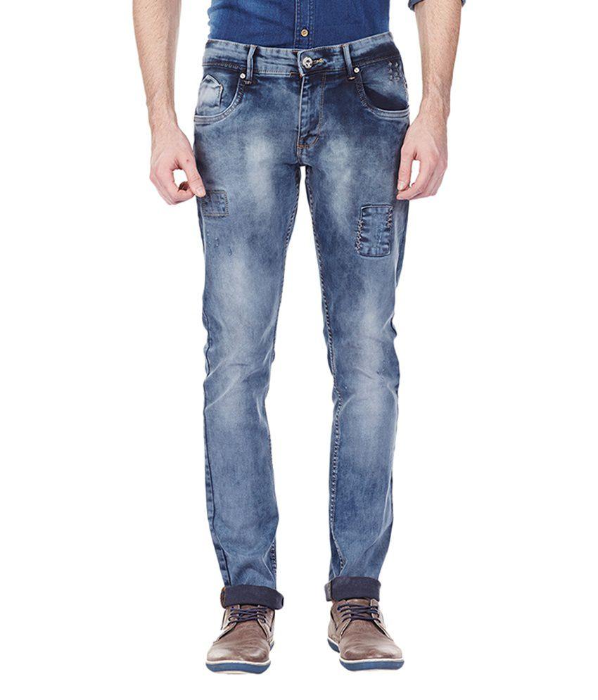 Bandit Navy Cotton Men's Casual Slim Fit Jeans