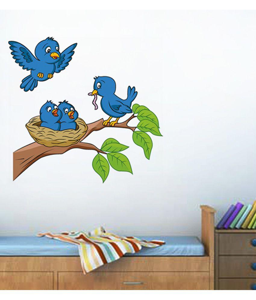 StickersKart Adorable Blue Birds Feeding Baby Room Wall Decor - Multicolour  (28x28 cms)