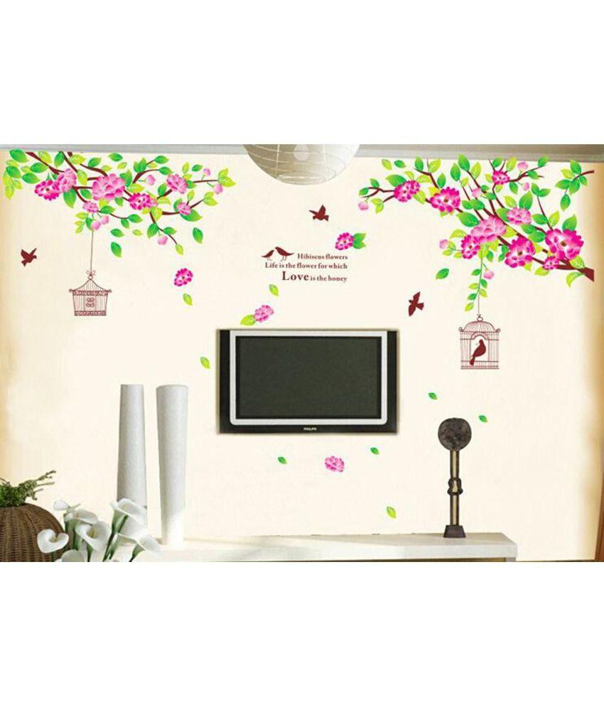 Stickerskart lcd tv backdrop hibiscus flowers wall decor stickerskart lcd tv backdrop hibiscus flowers wall decor multicolour 60x90 cms izmirmasajfo