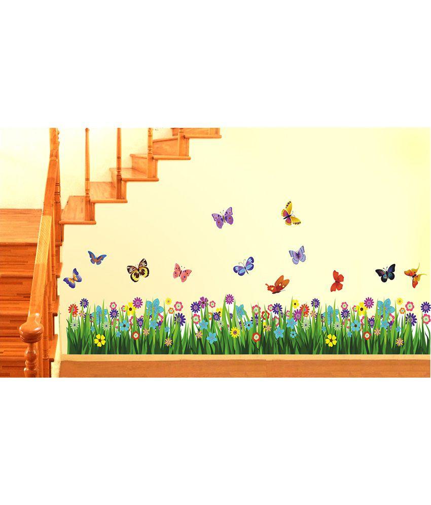 StickersKart Walking In The Garden Flower Border Design ...