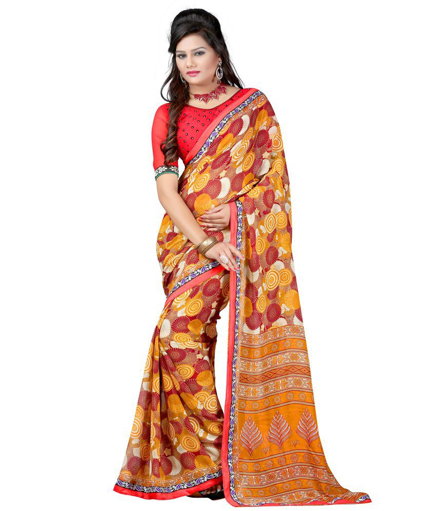 Fashiondeal Brown Faux Georgette Saree