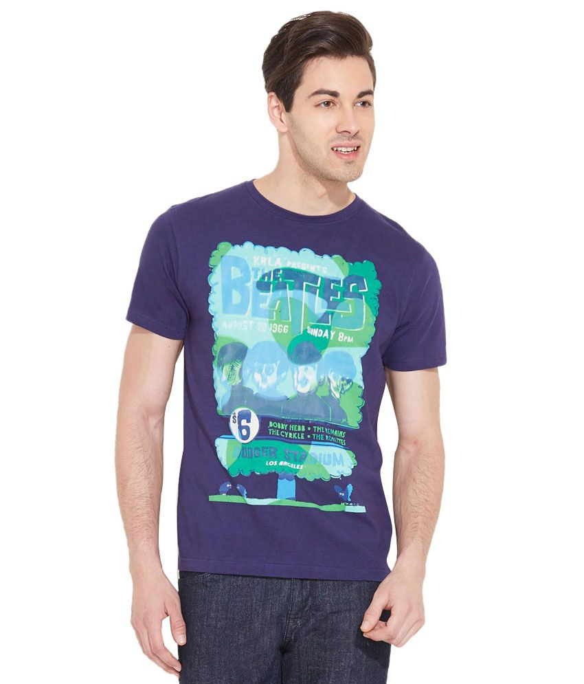 LLo Fashions Purple Cotton Blend T-shirt