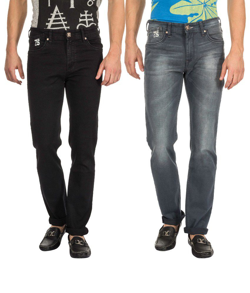 RAA JEANS Combo of Black and Grey Blended Cotton Slim Fit Jeans (Pack of 2)