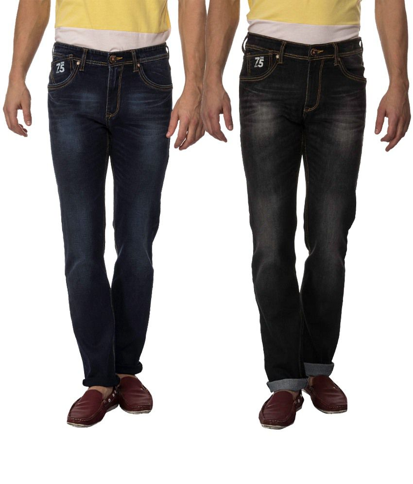RAA JEANS Combo of Navy and Grey Blended Cotton Slim Fit Jeans (Pack of 2)