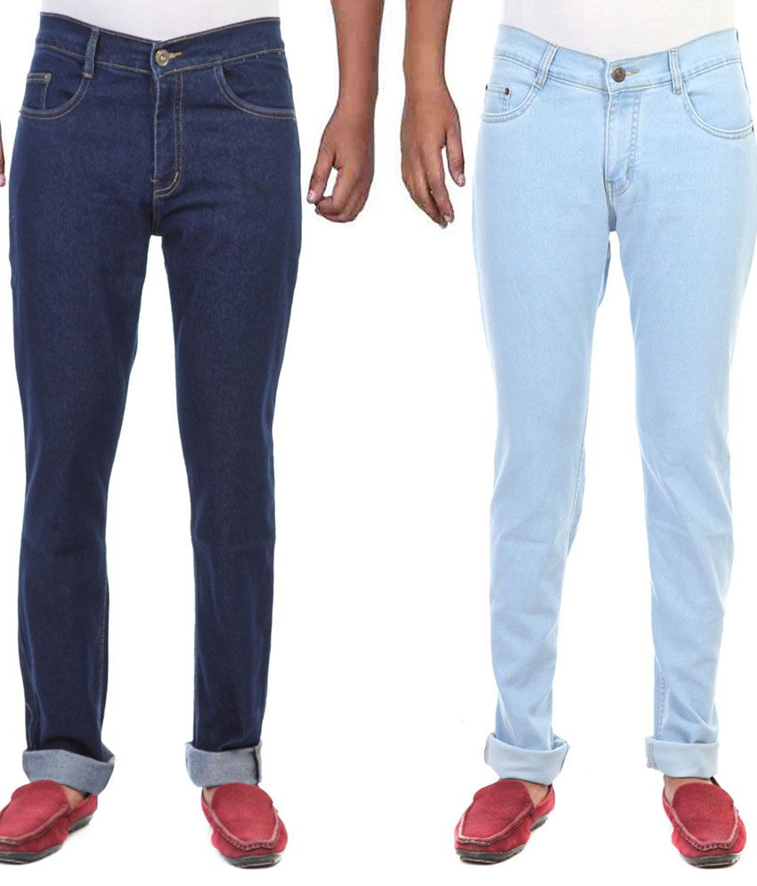 Ansh Fashion Wear Blue Regular Fit Jeans - Pack Of 2