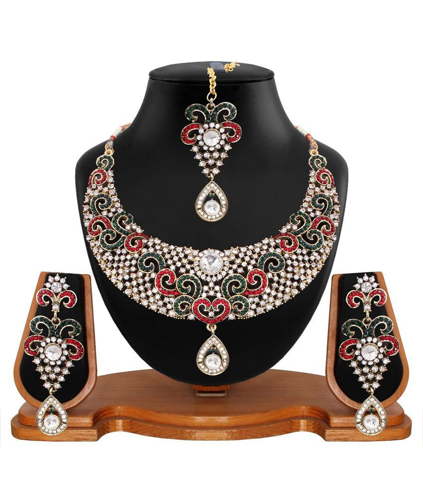Vendee Fashion Multicolour Alloy Necklace Set With Maang Tika