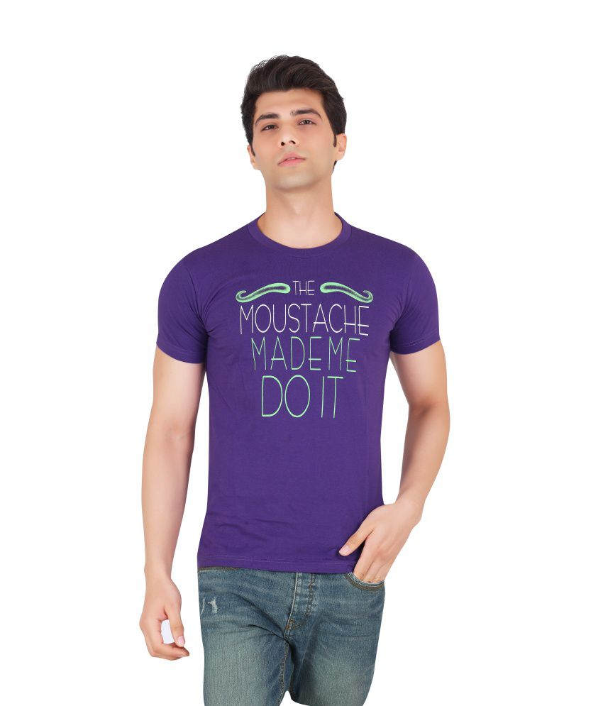 WebMachinez Purple Cotton Half Round T-Shirt