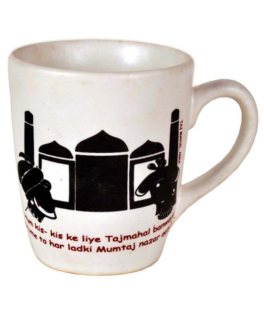 Craftghar Ceramic Set Of 2 Coffee Mugs With Tray - White: Buy Online