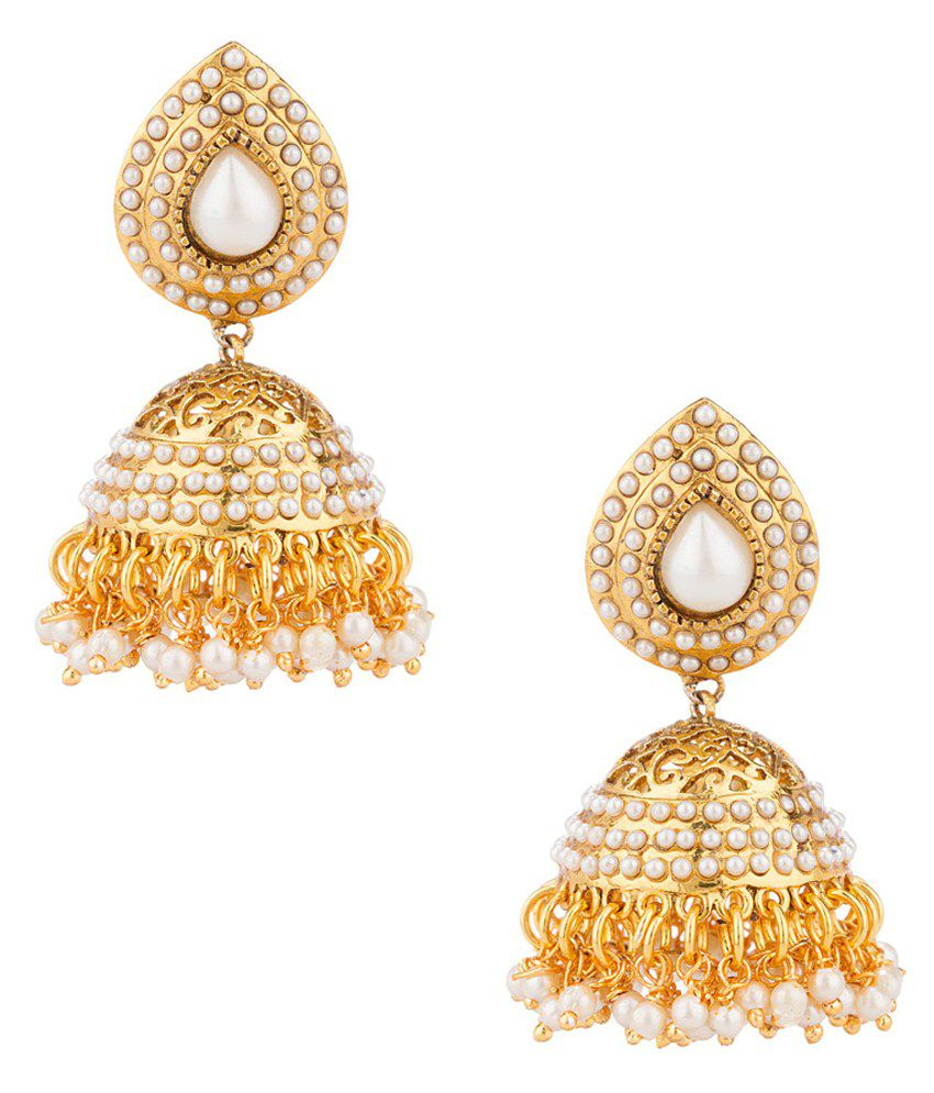 Voylla Majestic Yellow Gold Toned Pair Of Earrings