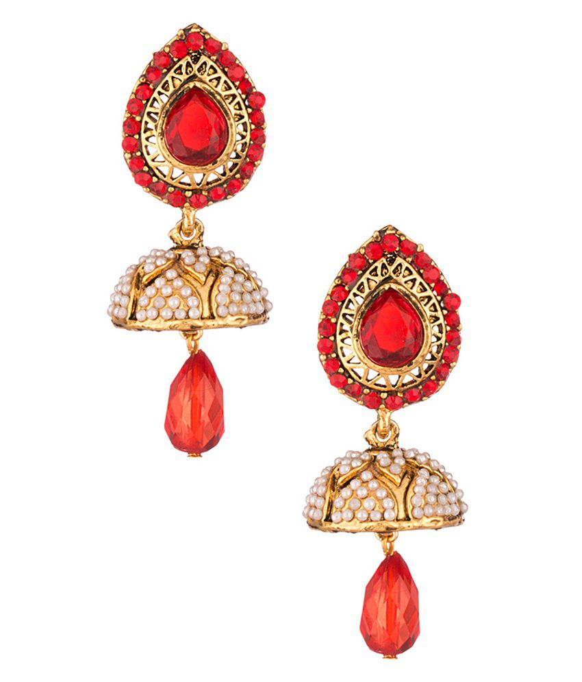 Voylla Pearl Beaded Gold Toned Jhumki Studded With Red Stones