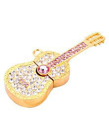 Quace 16 GB Metal Gold Guitar Shaped Fancy USB Pen Drive