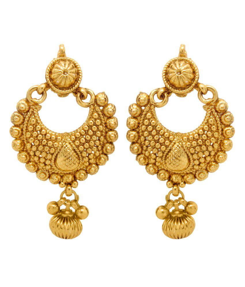 Donna Golden Alloy Hanging/ Dangle Earrings