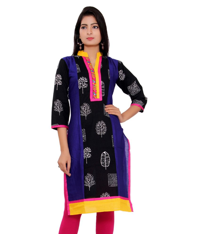 Morcee Black Cotton Kurti
