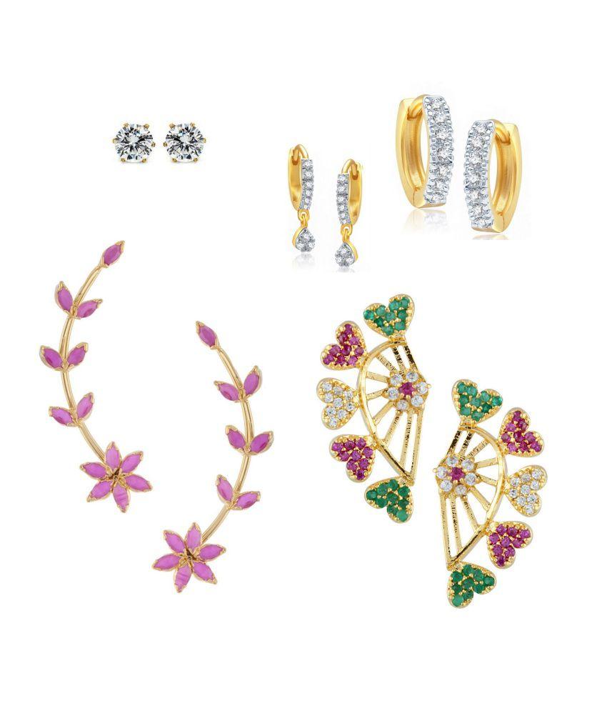 Parijaat Multicolour American Diamond And Alloy Earrings - Set Of 5
