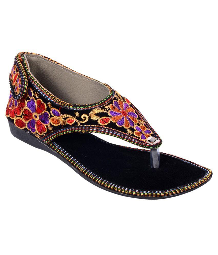 Rising Sun Black Sandals