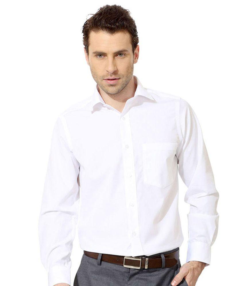 Signature White Cotton Slim Fit Formal Shirt