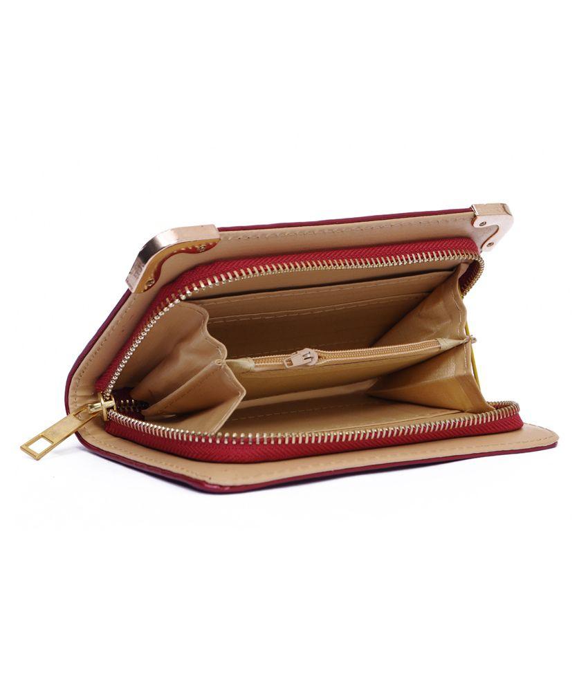 Zakina Red Designer Wallet For Women