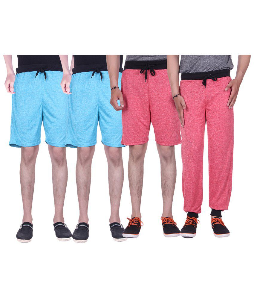 Gag Wear Multicolour Pack of Solid Trackpants & 3 Melange Shorts