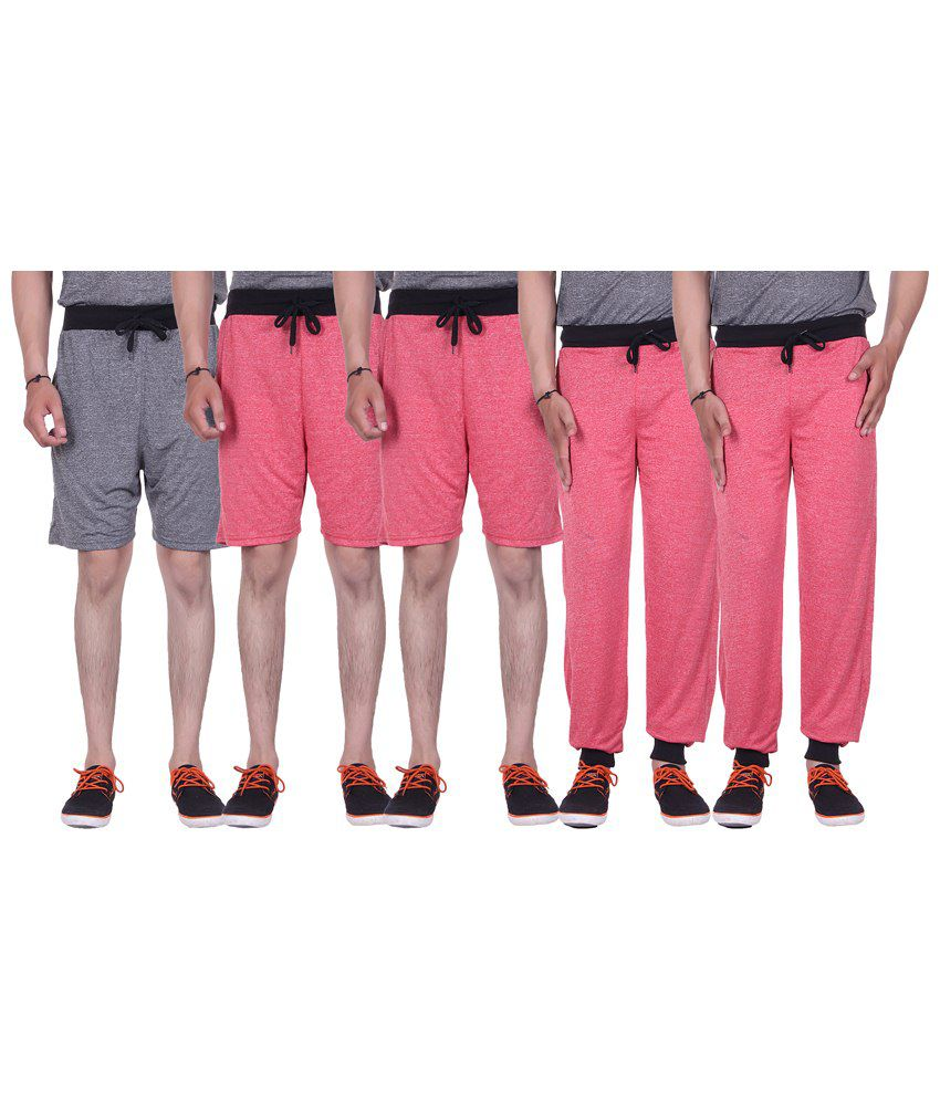Gag Wear Multicolour Pack of Solid 2 Trackpants & 3 Melange Shorts
