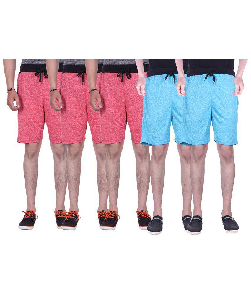Gag Wear Pack of 5 Red & Sky Blue Melange Shorts