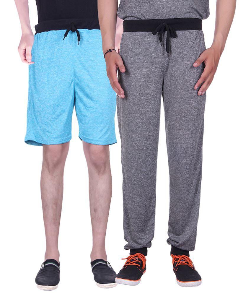 Gag Wear Pack of Gray Trackpants & Blue Melange Shorts