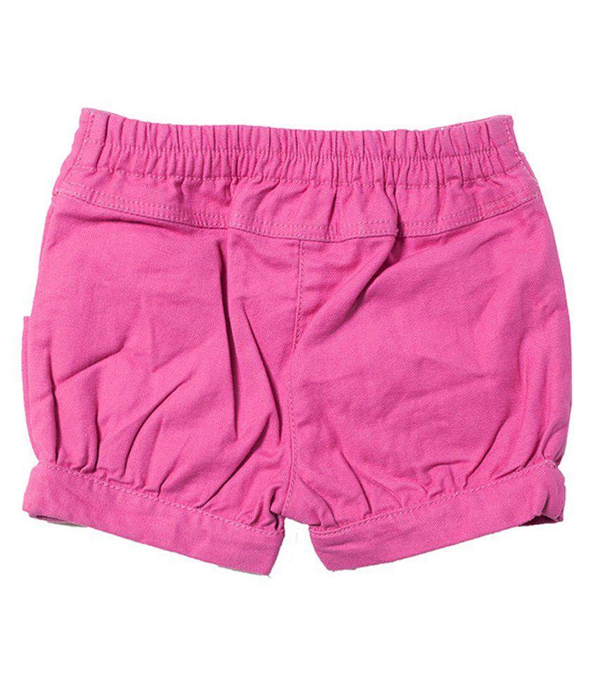 Nauti Nati Cotton Solids  Pink Shorts For Kids