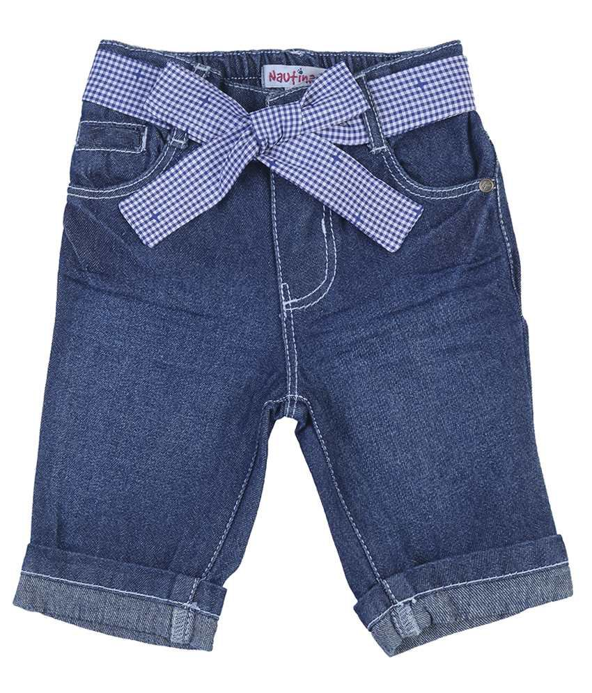 Nauti Nati denim Solids  Blue CAPRI For Kids