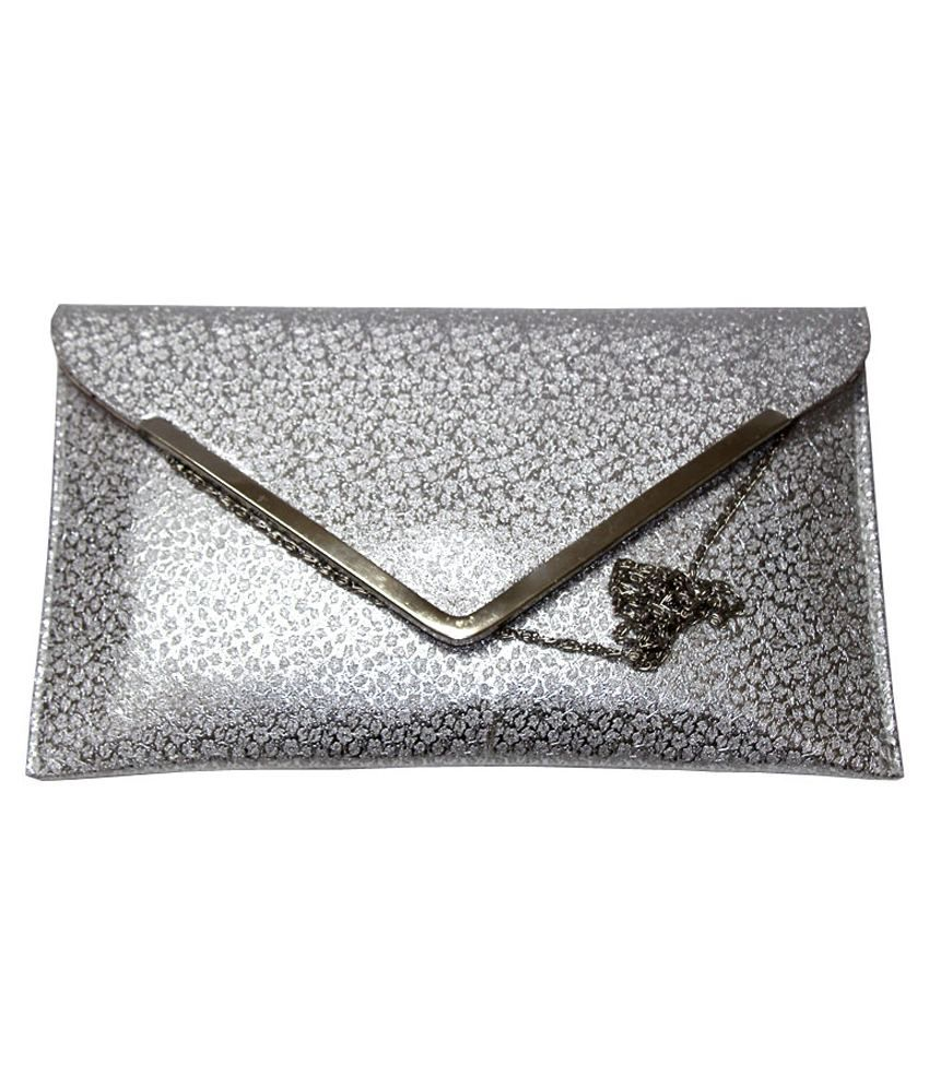 6a864b9c549f Buy Oasis Silver Clutch at Best Prices in India - Snapdeal