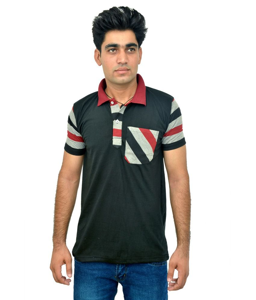 Highway Craze Black Half Sleeve Color Blocks Polo T-Shirts
