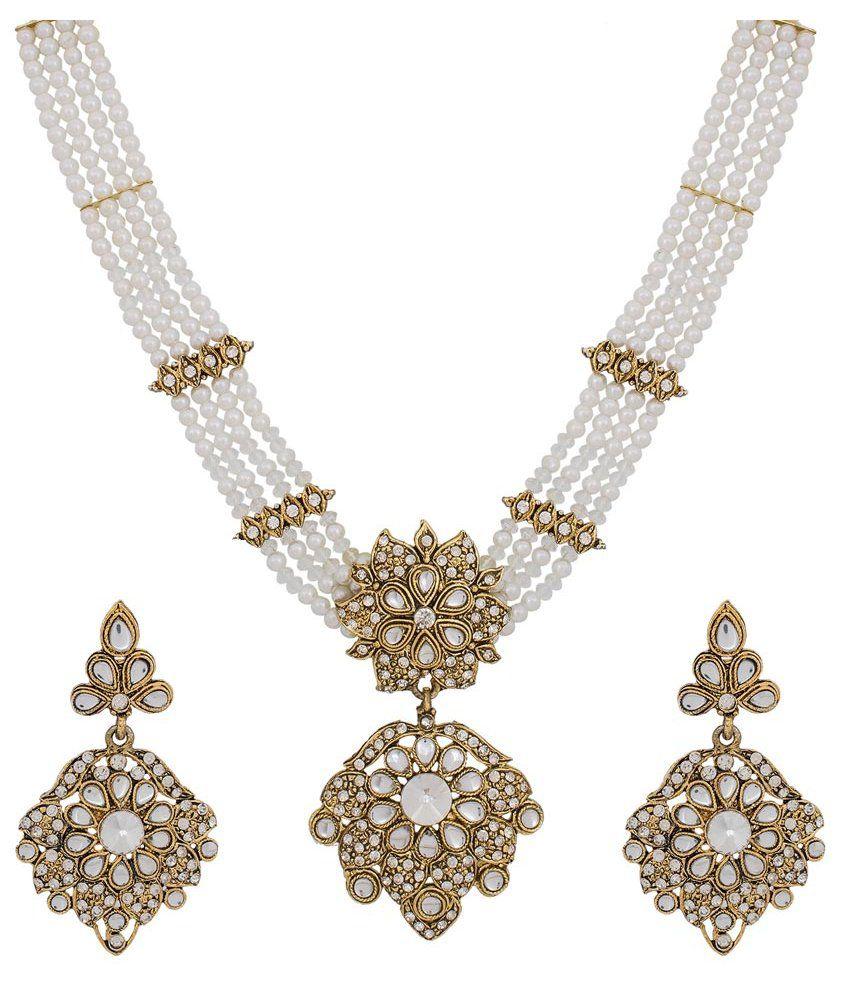 The Luxor Alloy American Diamonds Necklace Set