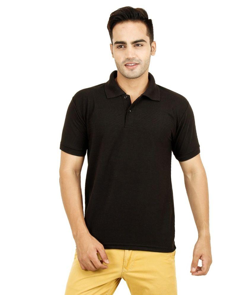 Bahar Black Cotton Blend Polo T-shirt