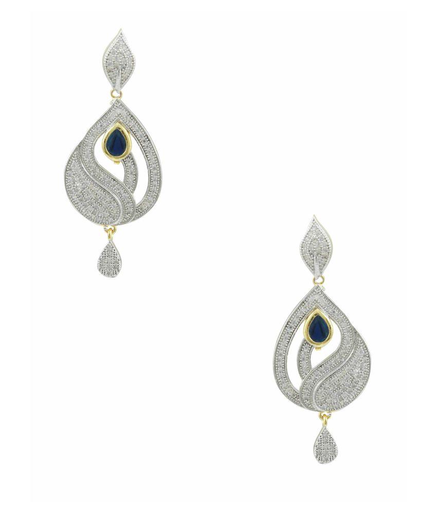 Orniza Multi Bridal Alloy American Diamonds Dangle Earrings