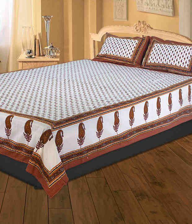 UniqChoice 100% Cotton Jaipuri King Size Double Bed Sheet With 2 Pillow Cover