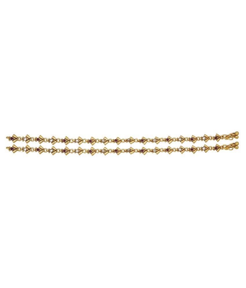 Vama Fashions Gold Alloy Anklets