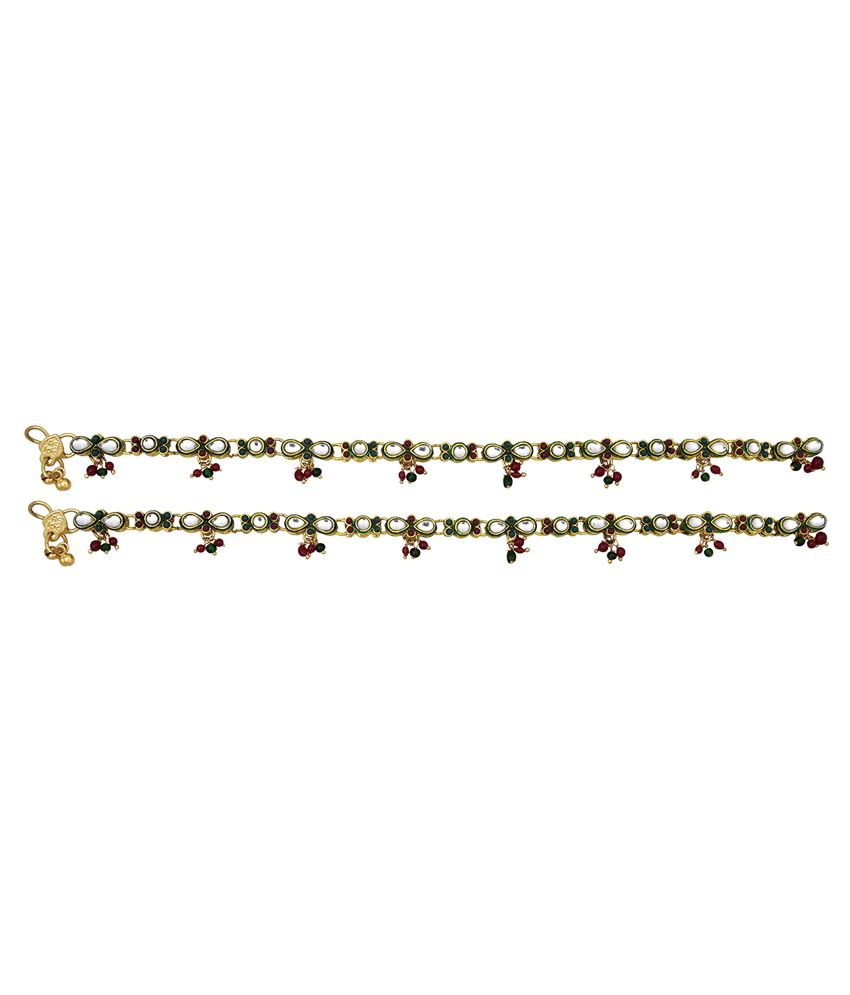 Vama Fashions Multicolor Alloy Anklets