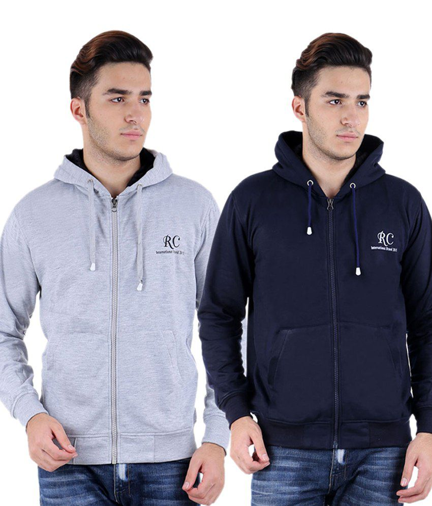 Christy World Grey And Navy Blue Full Sleeves Polyester Blend Hooded Sweatshirt - Pack Of 2