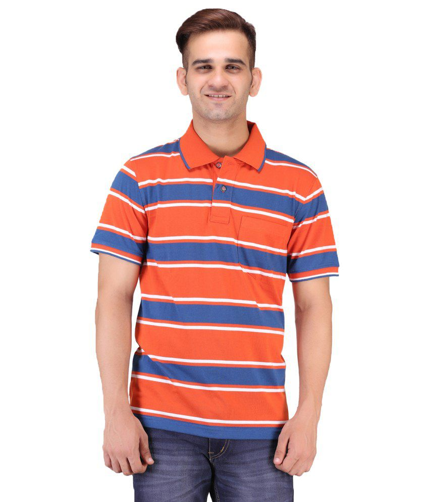 Keywest Orange Cotton Polo T-shirt