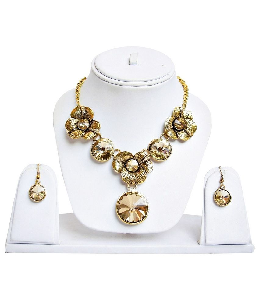 Lucky Jewellery Golden Alloy Necklace Set