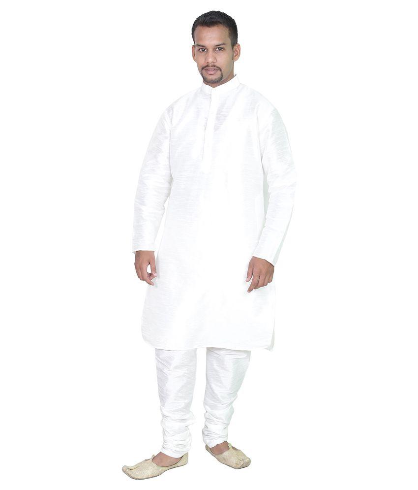 AMG White Silk Kurta Pyjama Set