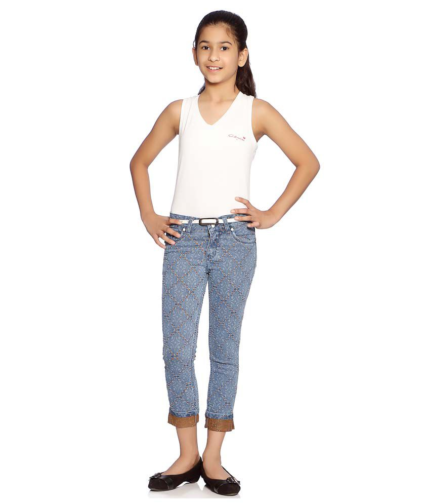 Clench Blue Capris For Girls