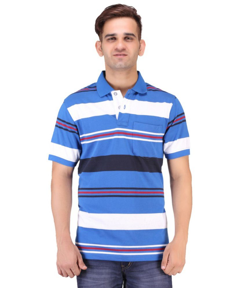 Keywest Blue Cotton Stripe Polo T Shirt