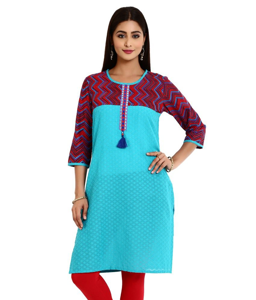 Aaboli Blue and Red Cotton Printed Kurti