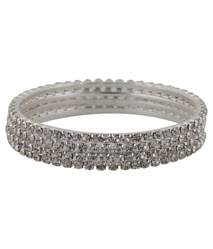 Freshme Fashion Jewellery Silver Brass American Diamond Studded Bangle Set