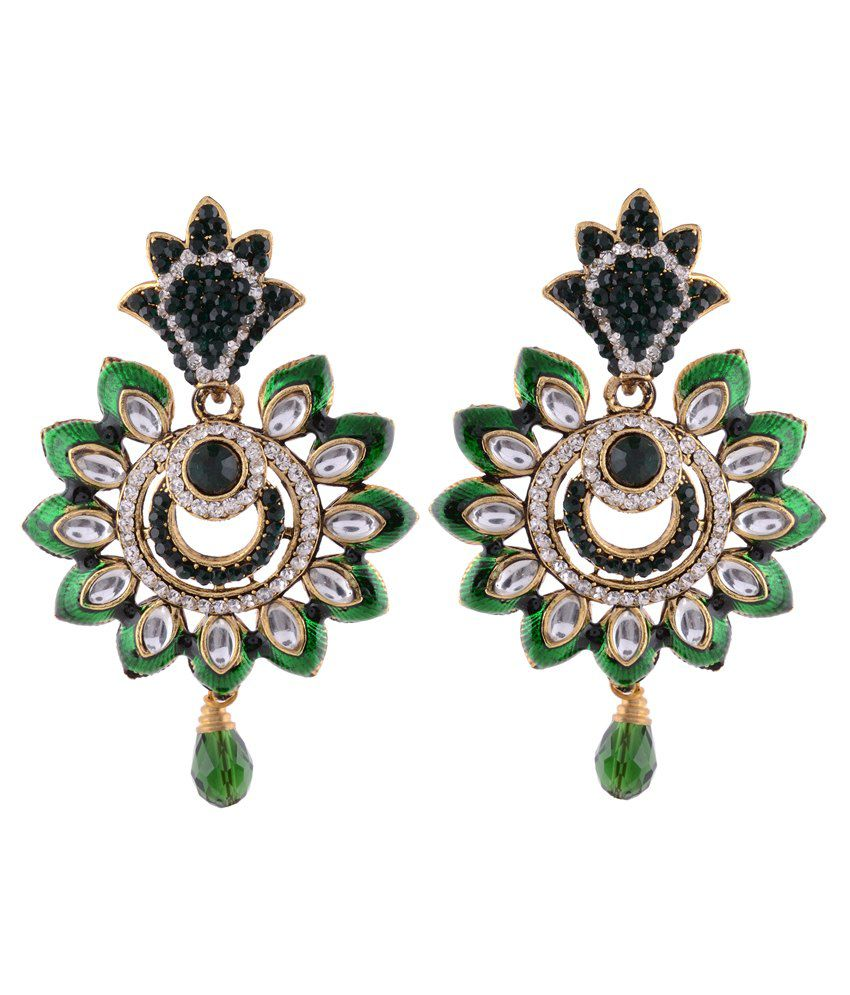 Sewad Multicolour Brass Drop Earrings