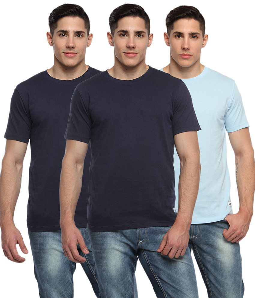 Adro Pack of 3 Blue Round Neck T Shirts